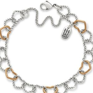 Twisted wire hearts bracelet